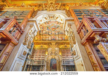 Coimbra, Portugal - August 14, 2017: University library in Coimbra, the Europe's oldest university founded in 1290. Unesco World Heritage Site and most important tourist attraction in Upper Coimbra.