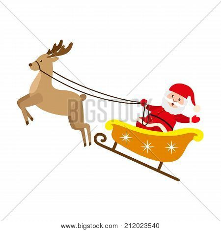 Funny Santa Claus riding reindeer sleigh, Christmas symbol, decoration element, cartoon vector illustration isolated on white background. Funny Santa Claus character in reindeer Christmas sleigh