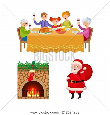 Christmas elements - family dinner, decorated chimney and Santa Clause with present bag, cartoon vector illustration isolated on white background. Family dinner, Santa Clause, chimney
