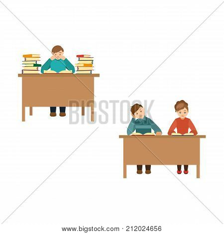 People, man and couple of friends, reading books in library, front view cartoon vector illustration isolated on white background. Young people, students reading, studying in public library