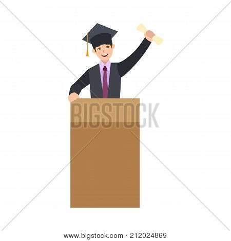 Happy student in cap and gown, graduation speech from a tribune stand, cartoon vector illustration isolated on white background. Graduating boy standing on tribune in graduation cap, holding diploma