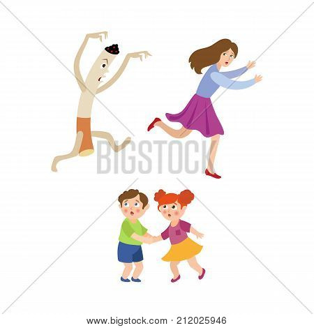 Huge evil cigarette chasing running after frightened woman and scared little children, cartoon vector illustration isolated on white background. Woman running from huge evil cigarette, frightened kids