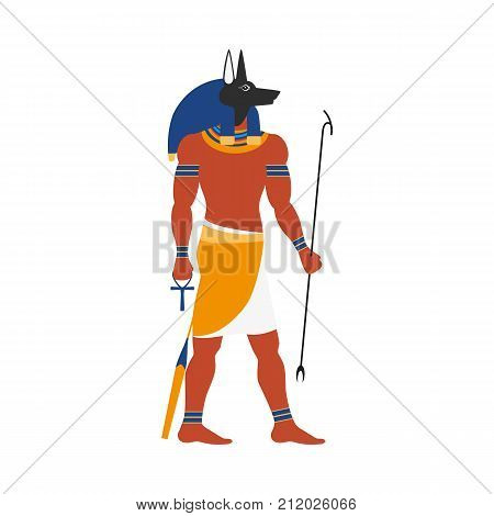 vector flat Anubis - ancient god of egypt with head of jackal or dog and human body icon. Conductor of the dead into the afterlife. Isolated illustration on a white background.