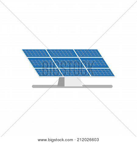 vector flat solar panel on solar power plant icon. Renewable alternative green bio eco energy resource. Isolated illustration on a white background.