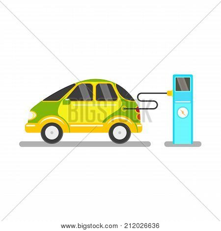vector flat electric car charging at charging station. Alternative energy consuming yellow vehicle icon. Isolated illustration on a white background.