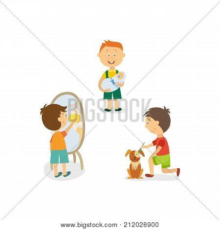 Funny little boy nursing his little sibling, washing mirror, grooming a dog, cartoon vector illustration isolated on white background. Little boy babysitting, cleaning house, grooming his puppy