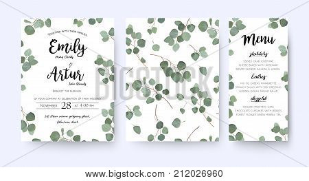Wedding invite invitation menu card vector floral greenery design: forest Eucalyptus branches & green leaves foliage greenery frame pattern. Postcard poster label. Watercolor elegant hand drawn set