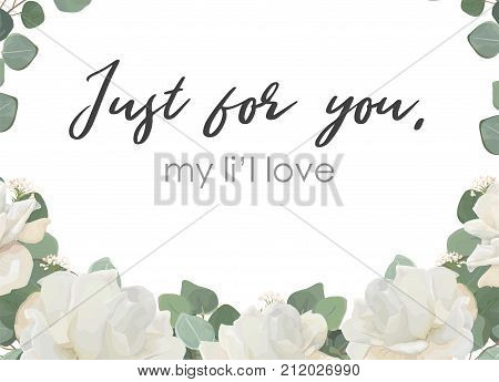 Vector floral design card. White Rose powder peony flower Eucalyptus branch leaves greenery delicate bouquet. Greeting postcard wedding invite. Frame border with