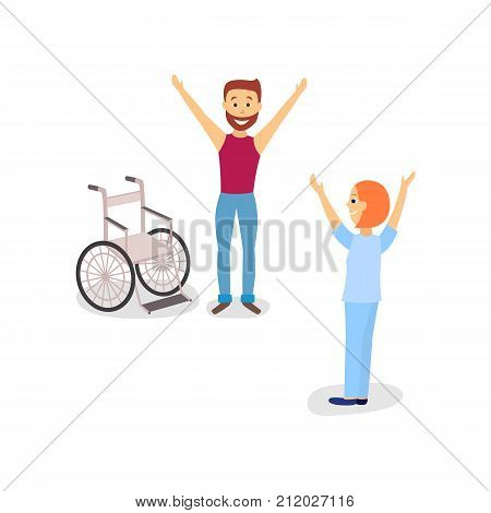 Medical rehabilitation, therapist helping a male patient to rehab after using wheelchair, cartoon vector illustration on white background. Medical rehabilitation, physical therapy, remedial gymnastics