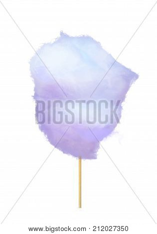 Realistic purple cotton candy on stick isolated on white. Made by heating and liquefying sugar and spinning it out through minute holes, where it strands sugar glass