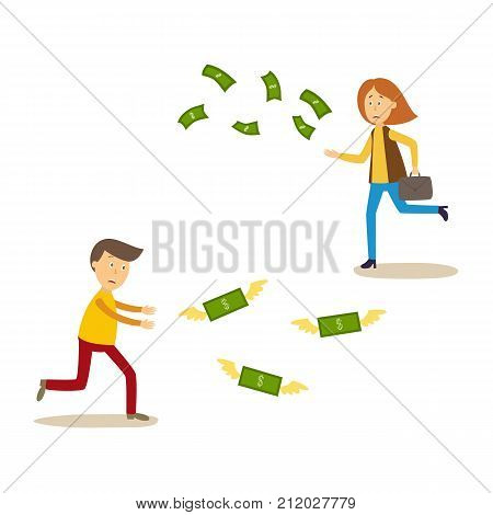 Sad, upset man and woman running after money flying away, cartoon vector illustration isolated on white background. Stressed man and woman running after flying dollar banknotes, money with no success