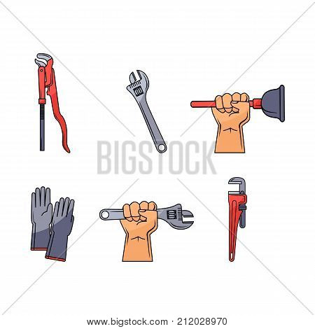 vector sketch plumbing tools and equipment set. Man hand holding monkey plumbing adjustable wrench or spanner, pipe wrench, water valve, gloves and plunger. Isolated illustration on a white background