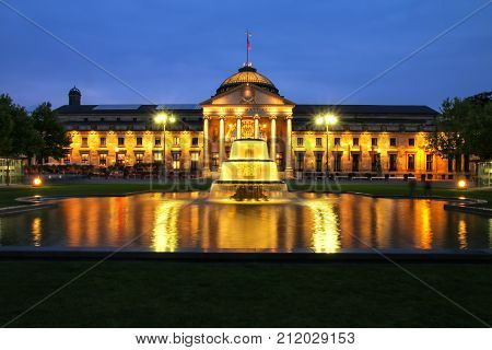 Kurhaus And Bowling Green In The Evening With Lights, Wiesbaden, Hesse, Germany