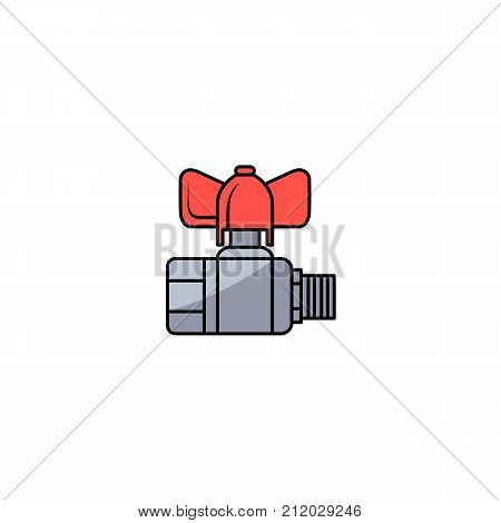 vector sketch style water valve with red fitting. Equipment for plumbing services, plumbing repairing. Isolated illustration on a white background.