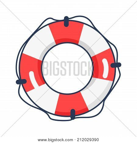 Shiny striped inflatable life buoy isolated vector illustration on white background. Beach equipment for security on water surface.