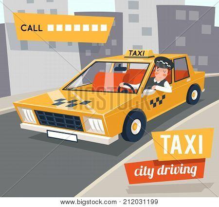 Cab taxi driver cartoon retro city car driving street backgorund vector illustration