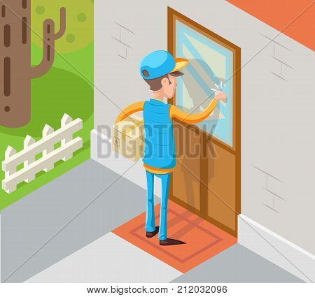 Isometric Express Courier Special Delivery Boy Man Messenger Cardboard Box Knocking Concept at Customer Door Wall Background Retro Cartoon Design Vector Illustration