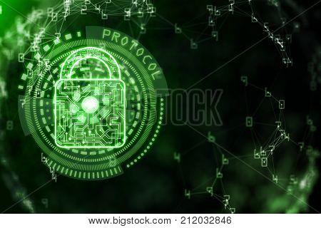 Digital green padlock background with binary code. Antivirus concept. 3D Rendering