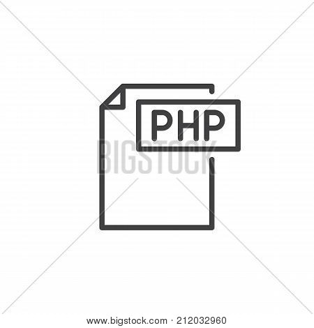 Php format document line icon, outline vector sign, linear style pictogram isolated on white. File formats symbol, logo illustration. Editable stroke