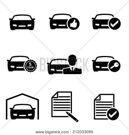 Set of black car icons for buying a car on a white isolated background