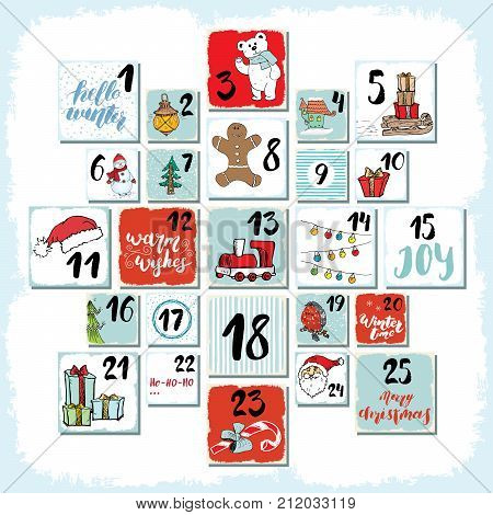 Christmas advent calendar. Hand drawn elements and numbers. Winter holidays calendar cards set design Vector illustration.