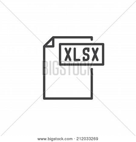 Xlsx format document line icon, outline vector sign, linear style pictogram isolated on white. File formats symbol, logo illustration. Editable stroke