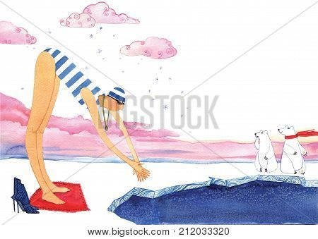 Girl swimming in ice-hole on on white background