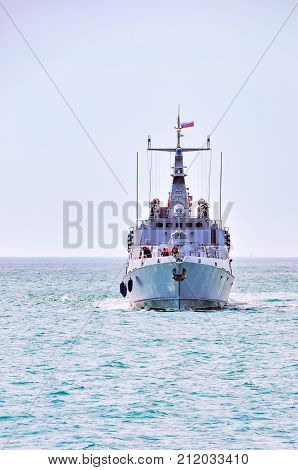 Portoroz, Slovenia - May 27 2011: Bow - front view of Slovenian Armed Forces Navy Ship Triglav on patrol in the bay of Piran. The Patrol boat is Russian built Svetlyak class.
