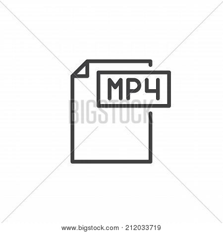 Mp4 format document line icon, outline vector sign, linear style pictogram isolated on white. File formats symbol, logo illustration. Editable stroke