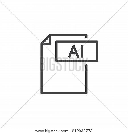 Ai format document line icon, outline vector sign, linear style pictogram isolated on white. File formats symbol, logo illustration. Editable stroke