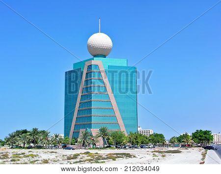Ras Al-Khaimah, United Arab Emirates - July 04, 2004: Etisalat building in Ras Al-Khaimah in the United Arab Emirates
