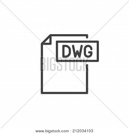 Dwg format document line icon, outline vector sign, linear style pictogram isolated on white. File formats symbol, logo illustration. Editable stroke