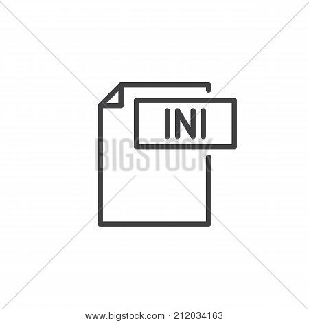 Ini format document line icon, outline vector sign, linear style pictogram isolated on white. File formats symbol, logo illustration. Editable stroke