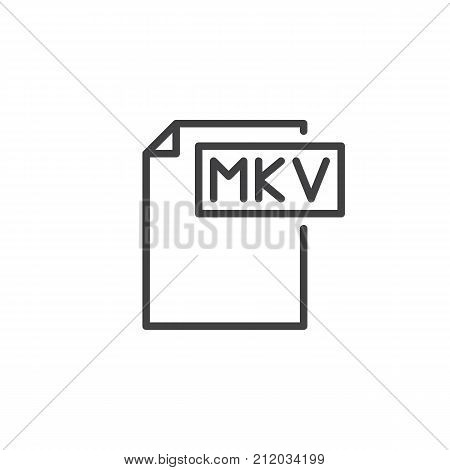 Mkv format document line icon, outline vector sign, linear style pictogram isolated on white. File formats symbol, logo illustration. Editable stroke