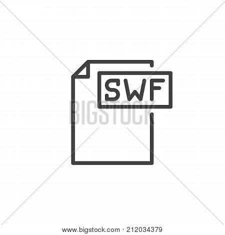 Swf format document line icon, outline vector sign, linear style pictogram isolated on white. File formats symbol, logo illustration. Editable stroke