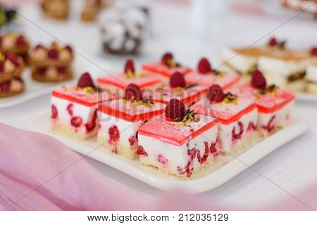 Sweet Desserts With Berries And Fruit Served On The Buffet