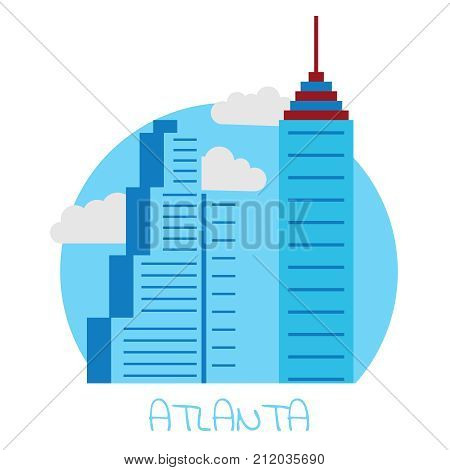 Icon of the city of Atlanta on a white isolated background with blue skyscrapers and gray clouds and an inscription Atlanta