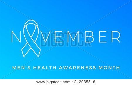 Movember Men Health Man Prostate Cancer November Awareness Month Vector Blue Ribbon