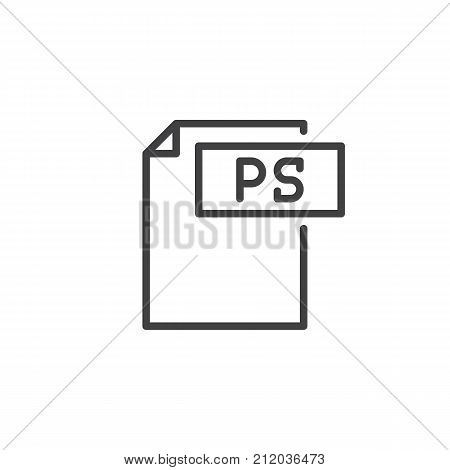 Ps format document line icon, outline vector sign, linear style pictogram isolated on white. File formats symbol, logo illustration. Editable stroke