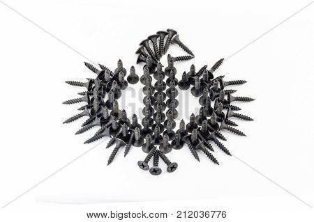 Phoenix , Bird Drawing Whith Black Screws On White Background