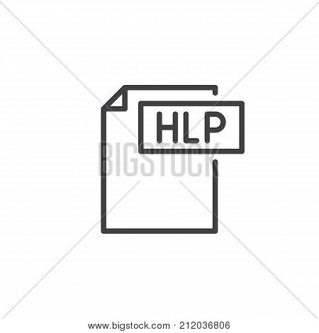 Hlp format document line icon, outline vector sign, linear style pictogram isolated on white. File formats symbol, logo illustration. Editable stroke