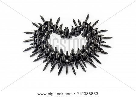 Romantic Relationship From The Point Of View Of Men. Black Heart With Thorns Laid Out Whit Black Scr