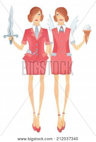 Two girls in the office suite with sword and ice cream in the hands of as the antithesis of goodness and retribution. On a white background.