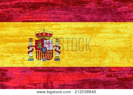 Spain Flag On Wood Texture Background