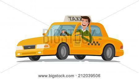 Taxi driver concept. Car, transport, transportation, transfer symbol or icon. Vector illustration isolated on white background