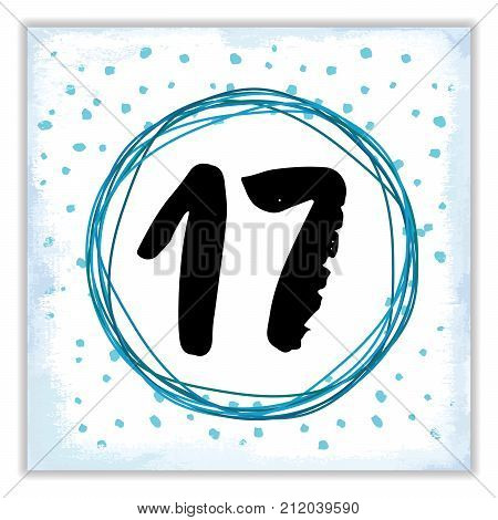 Christmas advent calendar. Hand drawn elements and numbers. Winter holidays calendar card design Vector illustration.
