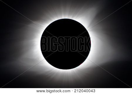 Total solar eclipse showing moon and suns corona