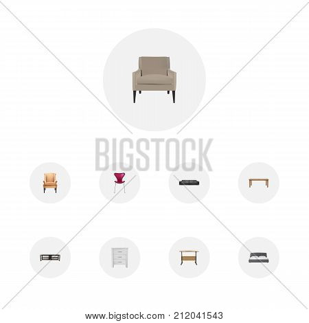 Realistic Table, Mattress, Worktop And Other Vector Elements