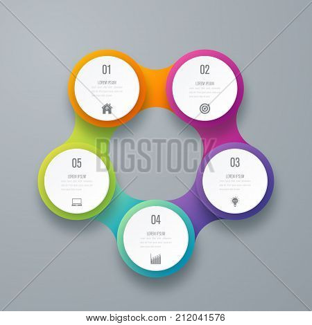Infographics template 5 options with circle. Data and information visualization. Dynamic infographics stylish geometric. element for design business invitations, gift cards, flyers and brochures