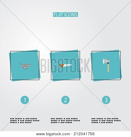 Flat Icons Hacksaw, Wheelbarrow, Axe And Other Vector Elements